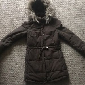 Brown Winter Coat w/ Faux Fur Trim on Hood